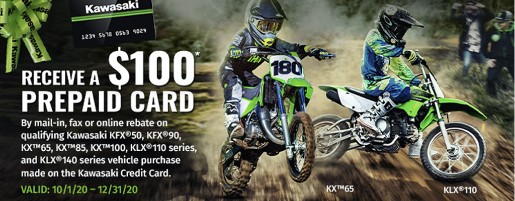 Receive a $100 Prepaid Card from Kawasaki